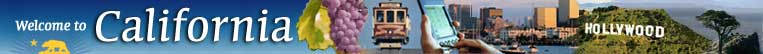 Welcome to California, picture montage consisting of California grapes, cable car, pda, San Diego skyline, Hollywood sign, and Monterey cypress tree.