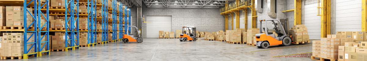 forklifts in large warehouse