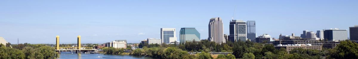 green trees line both banks of the sacramento river. the yellow tower bridge crosses the blue water leading to the tall buildings of the sacrament skyline. the scene is set against a clear blue sky.