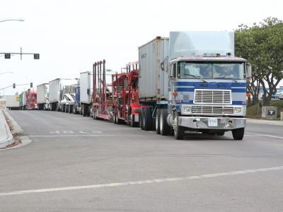 trucks at enforcement stop