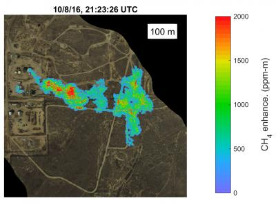methane plume in Kern Front oil field from satelite