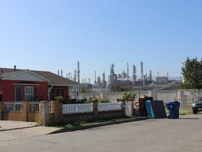 refinery behind home
