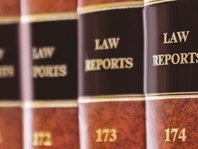Photo of law reports omn a bookshelf