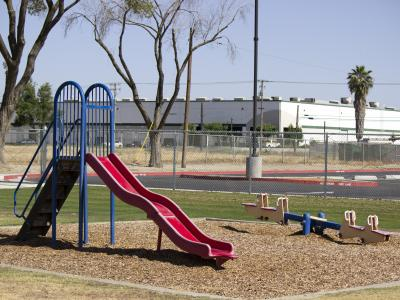playground near distribution facility in South Fresno