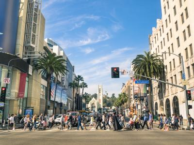 pedestrians in crosswalk in Hollywood