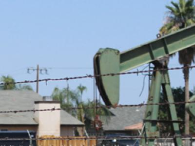 Oil well in neighborhood
