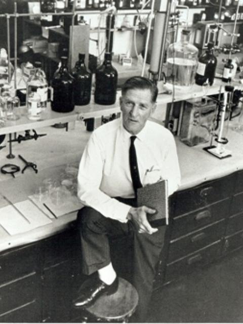 Dr. Arie Haggen-Smit in lab at Caltech